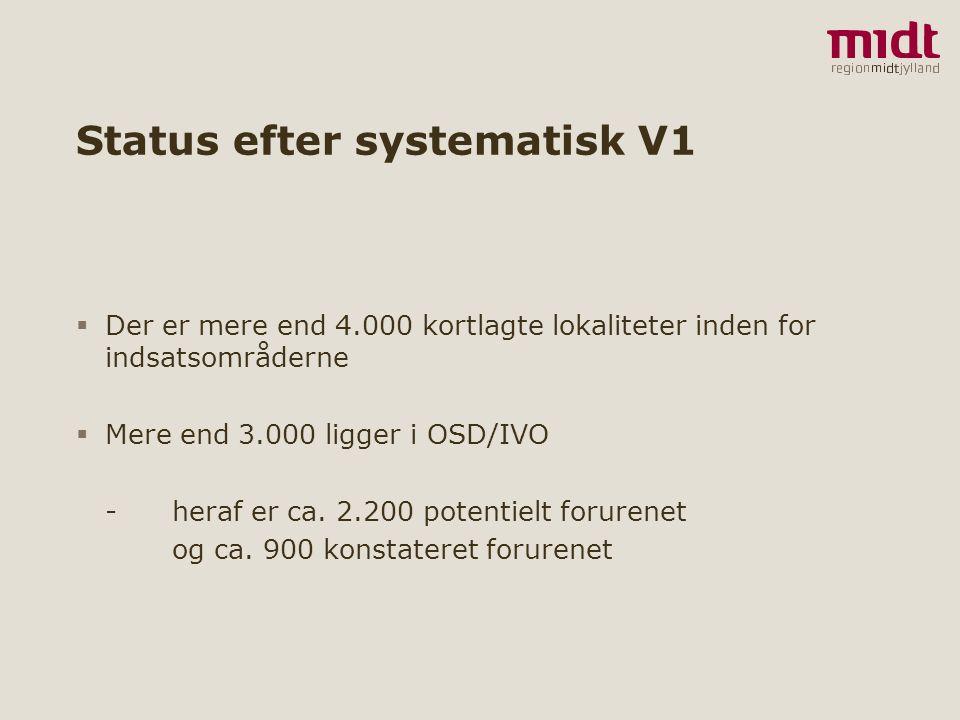2 ▪ www.regionmidtjylland.dk Status efter systematisk V1  Der er mere end 4.000 kortlagte lokaliteter inden for indsatsområderne  Mere end 3.000 ligger i OSD/IVO - heraf er ca.