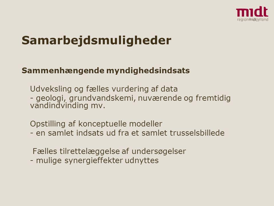 9 ▪ www.regionmidtjylland.dk Samarbejdsmuligheder Sammenhængende myndighedsindsats Udveksling og fælles vurdering af data - geologi, grundvandskemi, nuværende og fremtidig vandindvinding mv.