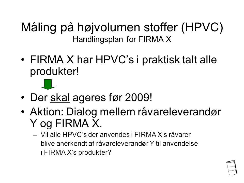 Måling på højvolumen stoffer (HPVC) Handlingsplan for FIRMA X FIRMA X har HPVC's i praktisk talt alle produkter.