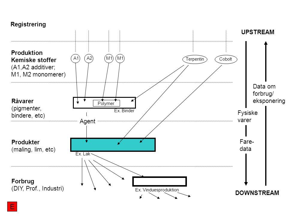 UPSTREAM DOWNSTREAM Produktion Kemiske stoffer (A1,A2 additiver; M1, M2 monomerer) Råvarer (pigmenter, bindere, etc) Produkter (maling, lim, etc) Forbrug (DIY, Prof., Industri) Registrering A1A2M1 Cobolt Terpentin Ex.