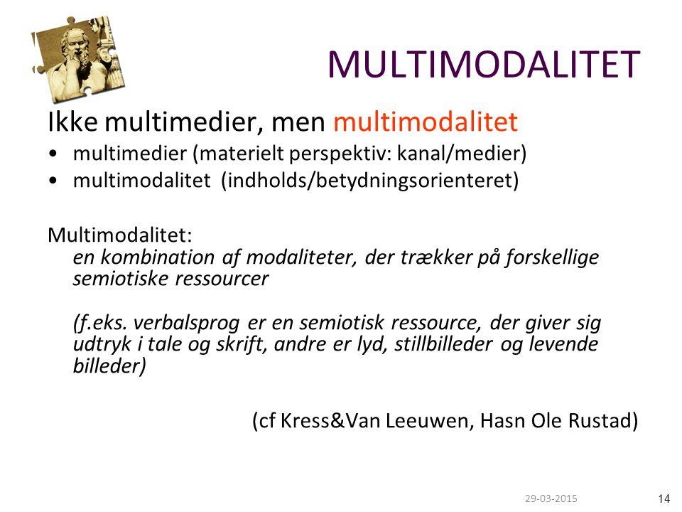 1429-03-2015 MULTIMODALITET Ikke multimedier, men multimodalitet multimedier (materielt perspektiv: kanal/medier) multimodalitet (indholds/betydningsorienteret) Multimodalitet: en kombination af modaliteter, der trækker på forskellige semiotiske ressourcer (f.eks.