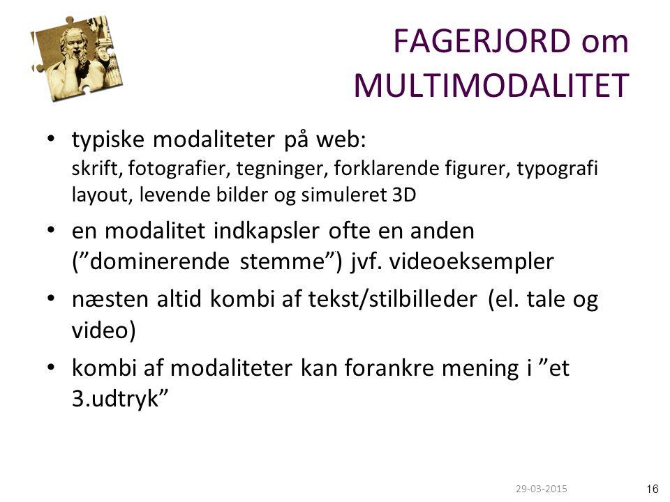 1629-03-2015 FAGERJORD om MULTIMODALITET typiske modaliteter på web: skrift, fotografier, tegninger, forklarende figurer, typografi layout, levende bilder og simuleret 3D en modalitet indkapsler ofte en anden ( dominerende stemme ) jvf.