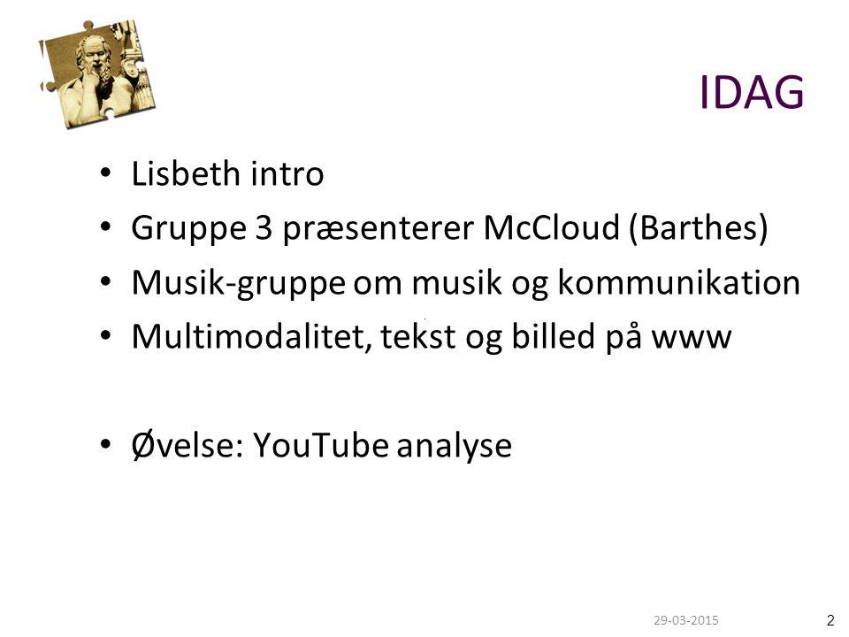229-03-2015 IDAG Lisbeth intro Gruppe 3 præsenterer McCloud (Barthes) Musik-gruppe om musik og kommunikation Multimodalitet, tekst og billed på www Øvelse: YouTube analyse