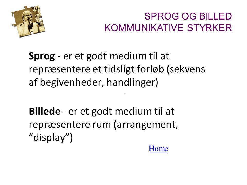 Sprog - er et godt medium til at repræsentere et tidsligt forløb (sekvens af begivenheder, handlinger) Billede - er et godt medium til at repræsentere rum (arrangement, display ) Home SPROG OG BILLED KOMMUNIKATIVE STYRKER