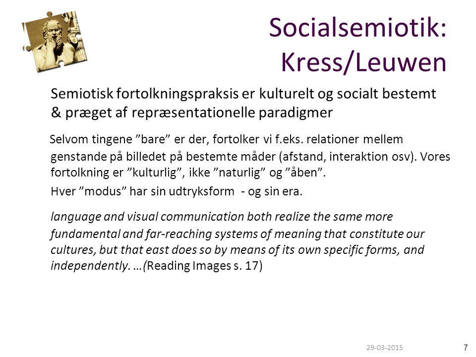 729-03-2015 Semiotisk fortolkningspraksis er kulturelt og socialt bestemt & præget af repræsentationelle paradigmer Selvom tingene bare er der, fortolker vi f.eks.