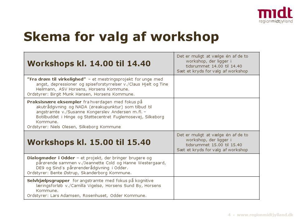 4 ▪ www.regionmidtjylland.dk Skema for valg af workshop Workshops kl.