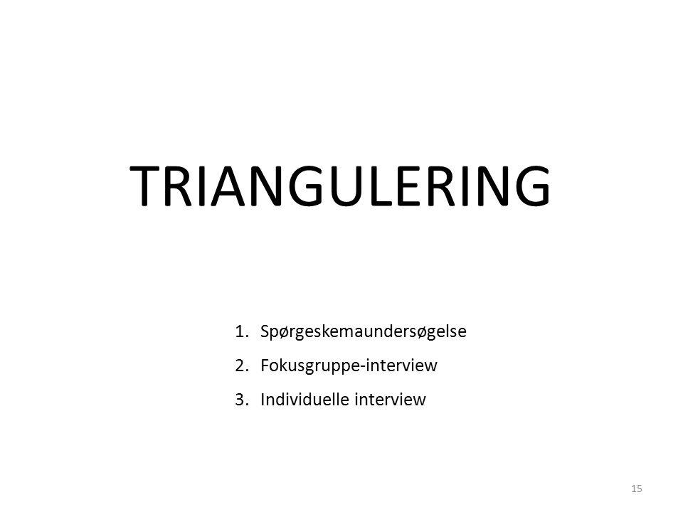 1.Spørgeskemaundersøgelse 2.Fokusgruppe-interview 3.Individuelle interview TRIANGULERING 15