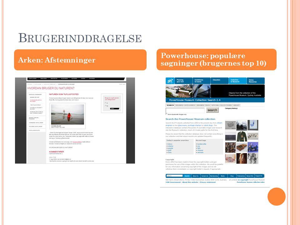 B RUGERINDDRAGELSE Arken: Afstemninger Powerhouse: populære søgninger (brugernes top 10)