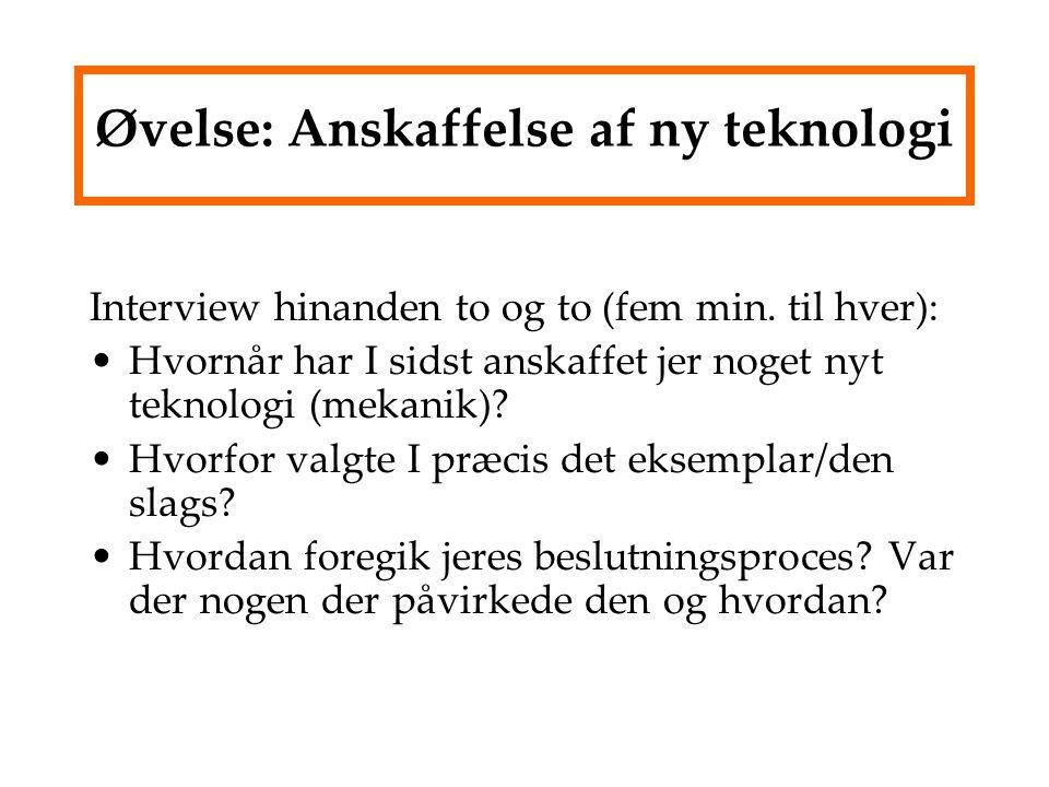 Øvelse: Anskaffelse af ny teknologi Interview hinanden to og to (fem min.