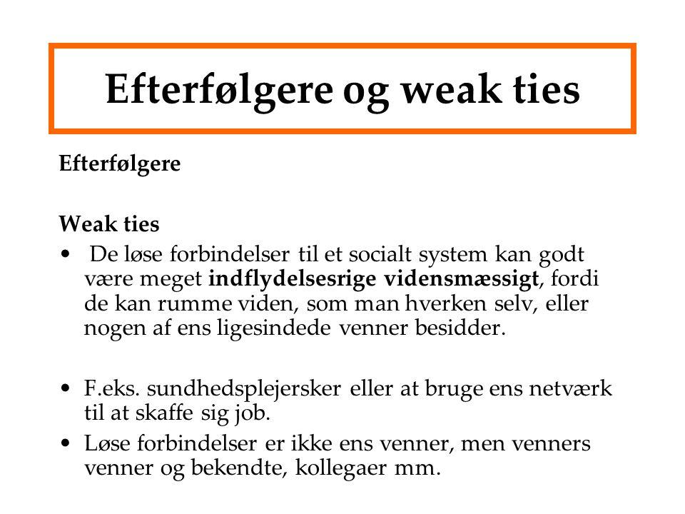 Efterfølgere og weak ties Efterfølgere Weak ties De løse forbindelser til et socialt system kan godt være meget indflydelsesrige vidensmæssigt, fordi de kan rumme viden, som man hverken selv, eller nogen af ens ligesindede venner besidder.