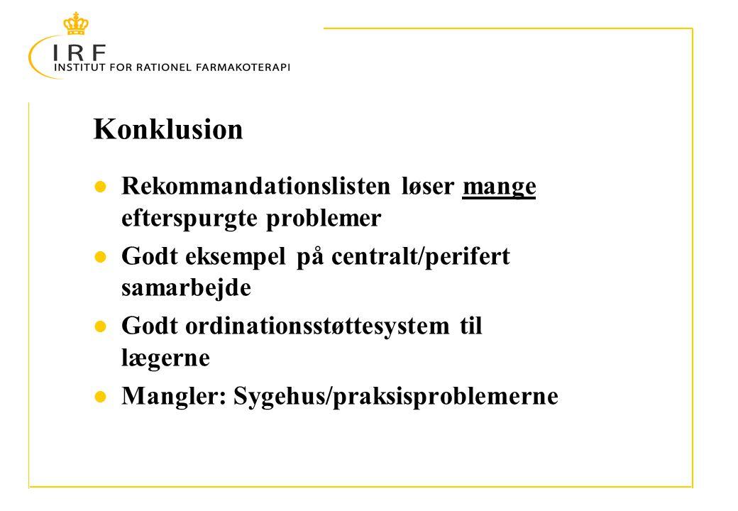 Konklusion Rekommandationslisten løser mange efterspurgte problemer Godt eksempel på centralt/perifert samarbejde Godt ordinationsstøttesystem til lægerne Mangler: Sygehus/praksisproblemerne