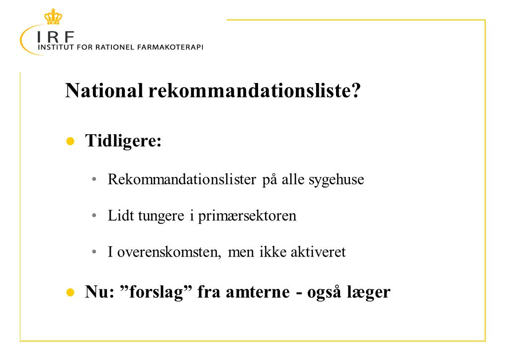 National rekommandationsliste.