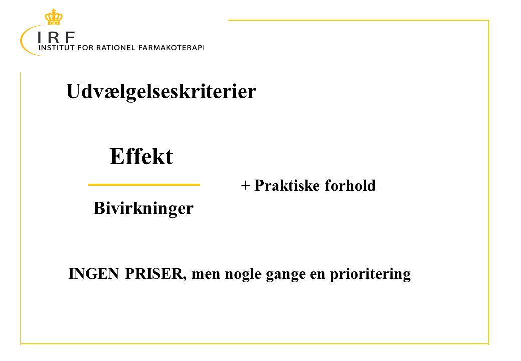 Udvælgelseskriterier Effekt Bivirkninger + Praktiske forhold INGEN PRISER, men nogle gange en prioritering