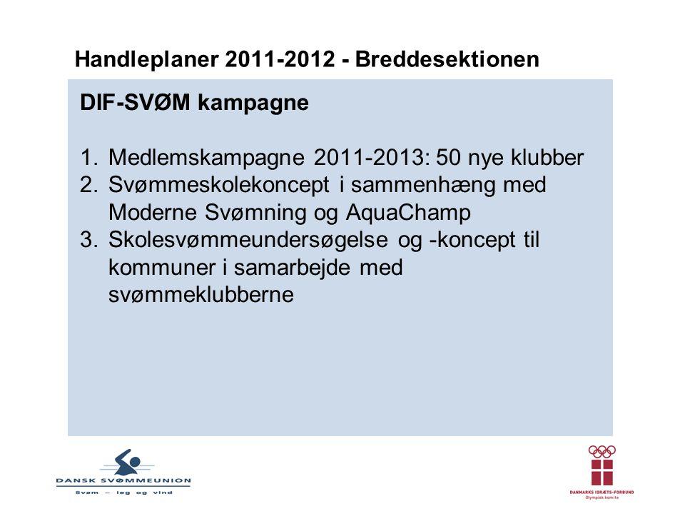 DIF-SVØM kampagne 1.Medlemskampagne 2011-2013: 50 nye klubber 2.Svømmeskolekoncept i sammenhæng med Moderne Svømning og AquaChamp 3.Skolesvømmeundersøgelse og -koncept til kommuner i samarbejde med svømmeklubberne Handleplaner 2011-2012 - Breddesektionen