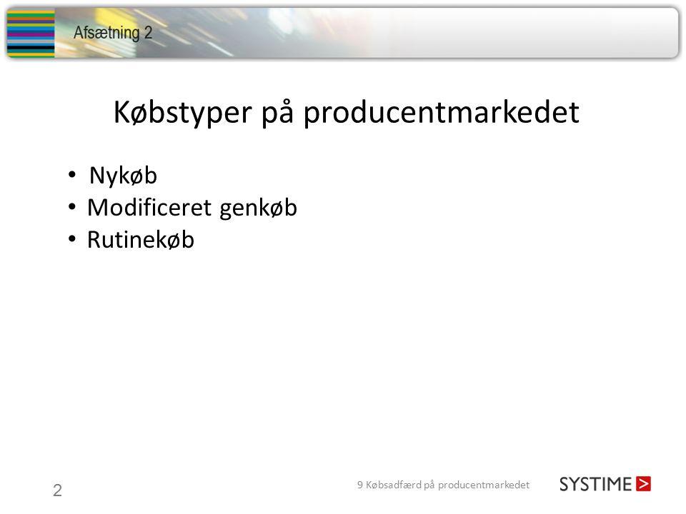 Købstyper på producentmarkedet 2 9 Købsadfærd på producentmarkedet Nykøb Modificeret genkøb Rutinekøb