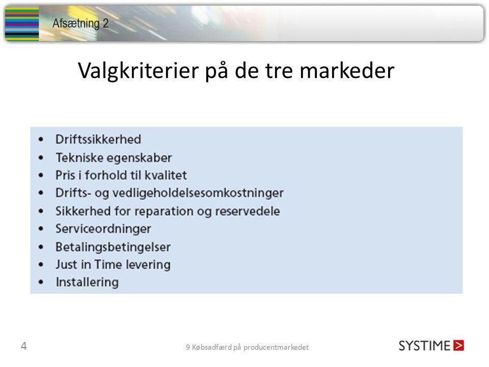 Valgkriterier på de tre markeder 4 9 Købsadfærd på producentmarkedet