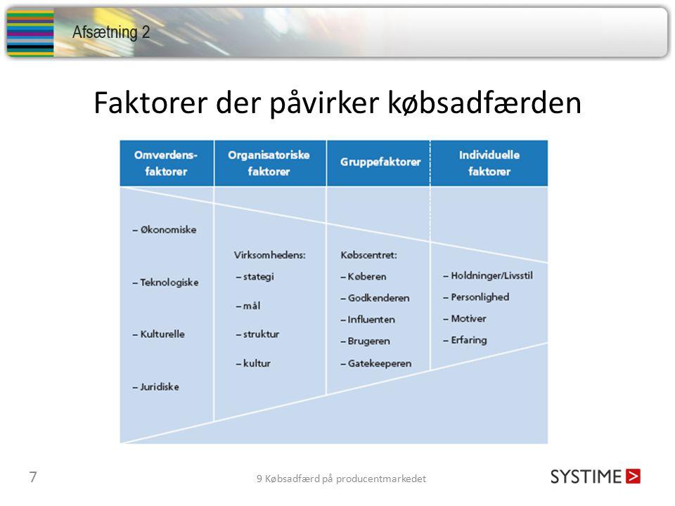 Faktorer der påvirker købsadfærden 7 9 Købsadfærd på producentmarkedet