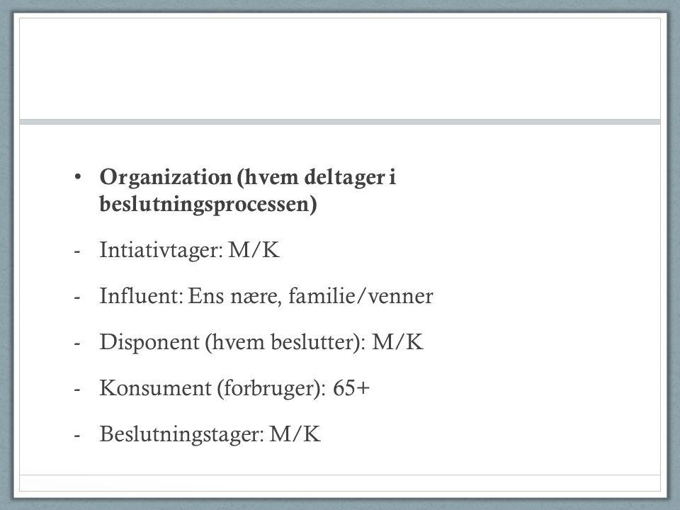 Organization (hvem deltager i beslutningsprocessen) -Intiativtager: M/K -Influent: Ens nære, familie/venner -Disponent (hvem beslutter): M/K -Konsument (forbruger): 65+ -Beslutningstager: M/K