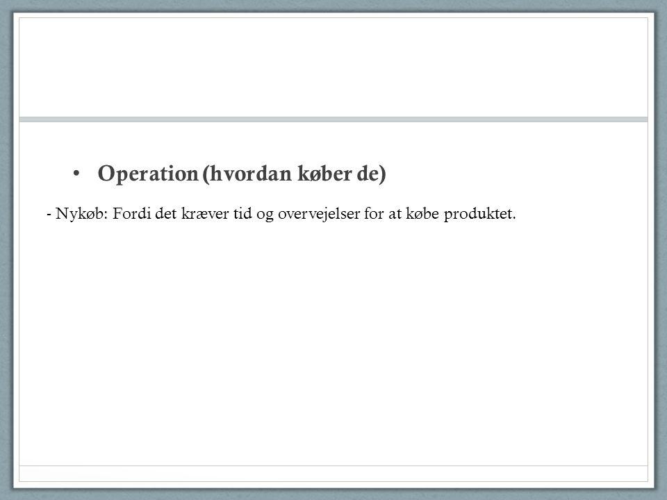 Operation (hvordan køber de) - Nykøb: Fordi det kræver tid og overvejelser for at købe produktet.