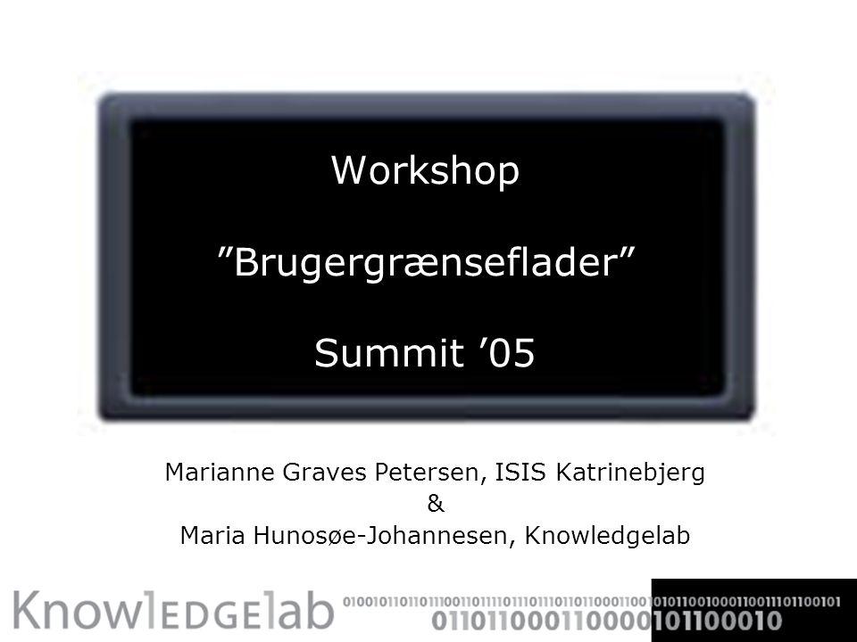 Workshop Brugergrænseflader Summit '05 Marianne Graves Petersen, ISIS Katrinebjerg & Maria Hunosøe-Johannesen, Knowledgelab