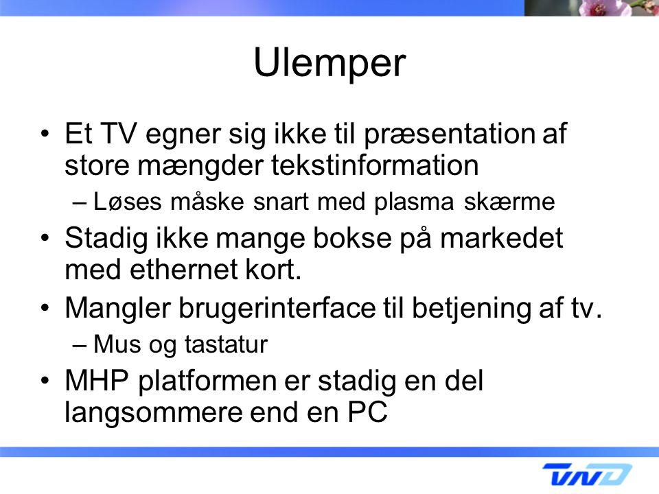 Ulemper Et TV egner sig ikke til præsentation af store mængder tekstinformation –Løses måske snart med plasma skærme Stadig ikke mange bokse på markedet med ethernet kort.