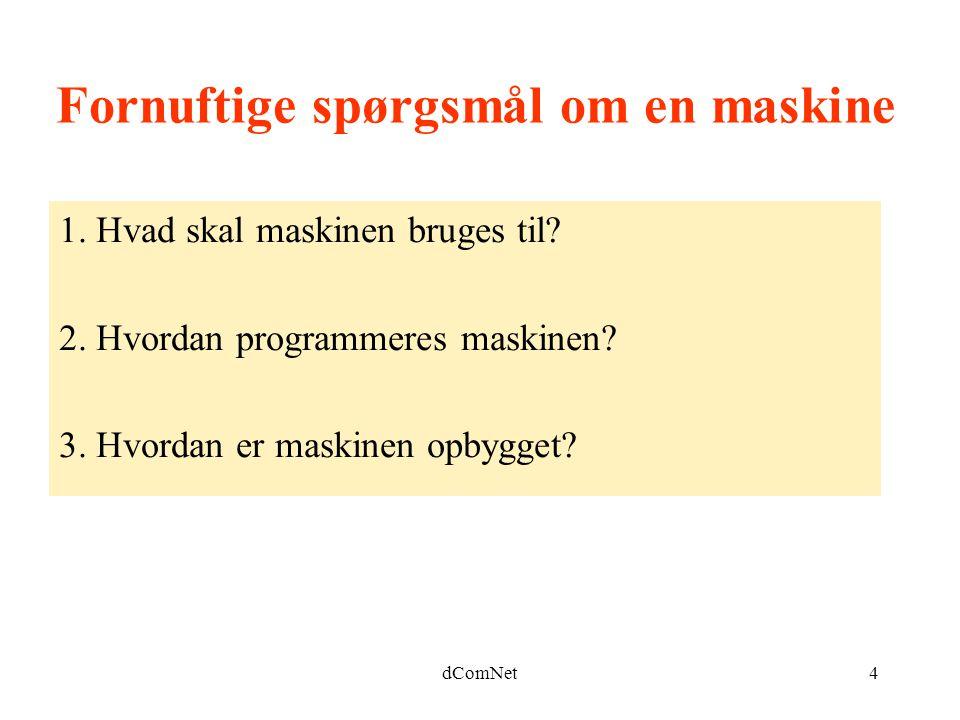 dComNet4 Fornuftige spørgsmål om en maskine 1. Hvad skal maskinen bruges til.