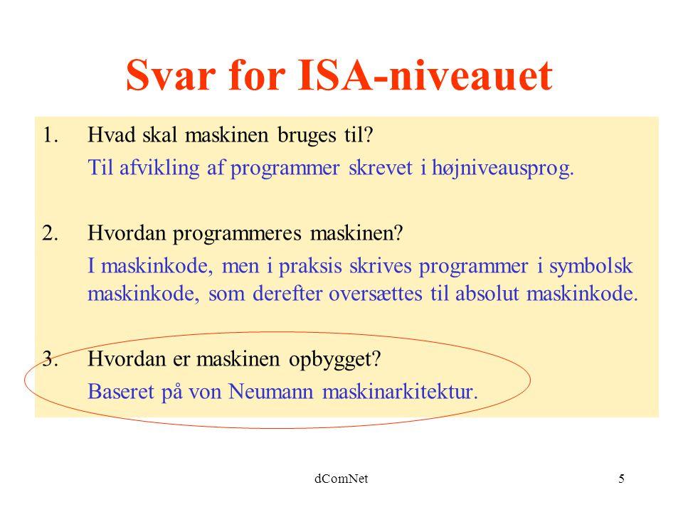 dComNet5 Svar for ISA-niveauet 1.Hvad skal maskinen bruges til.