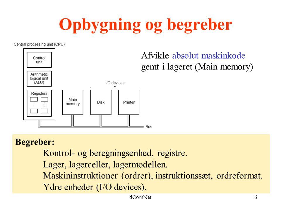 dComNet6 Opbygning og begreber Begreber: Kontrol- og beregningsenhed, registre.