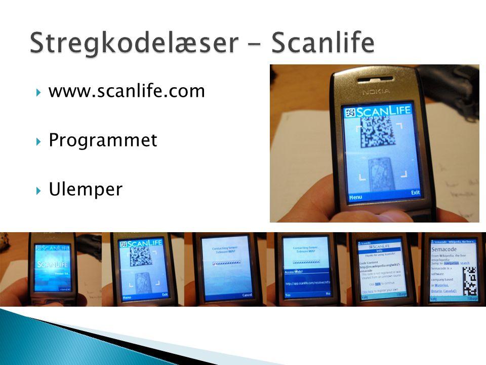  www.scanlife.com  Programmet  Ulemper