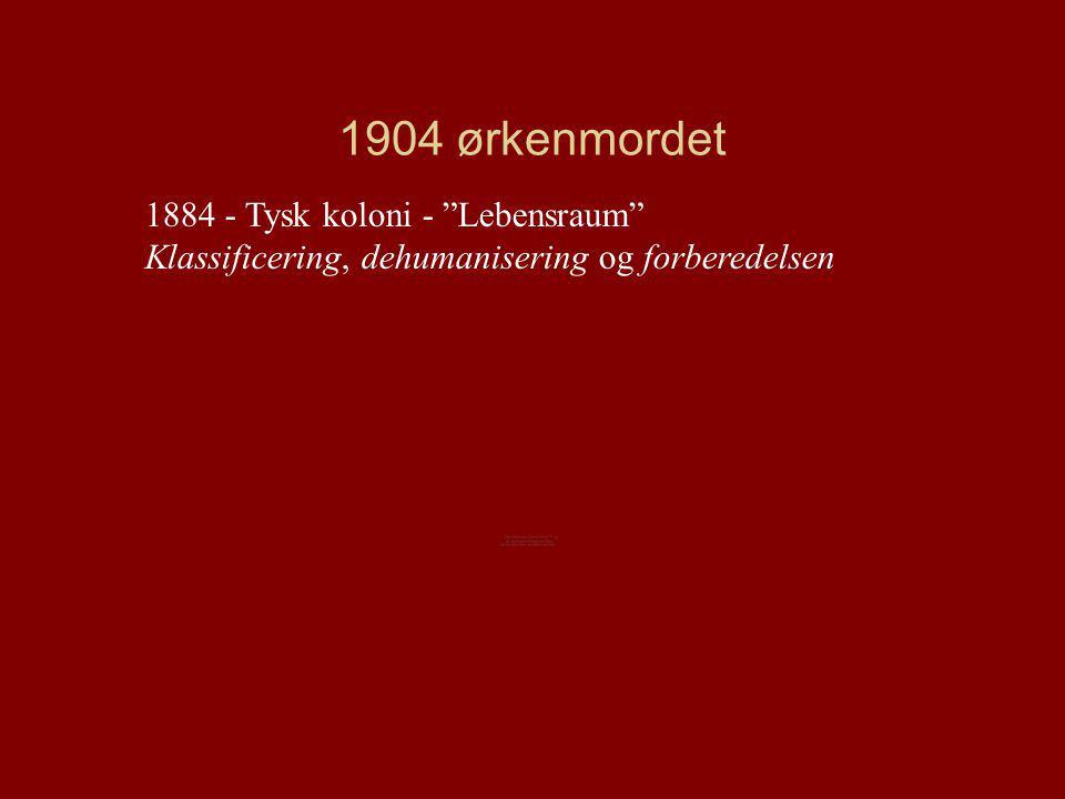 1904 ørkenmordet 1884 - Tysk koloni - Lebensraum Klassificering, dehumanisering og forberedelsen