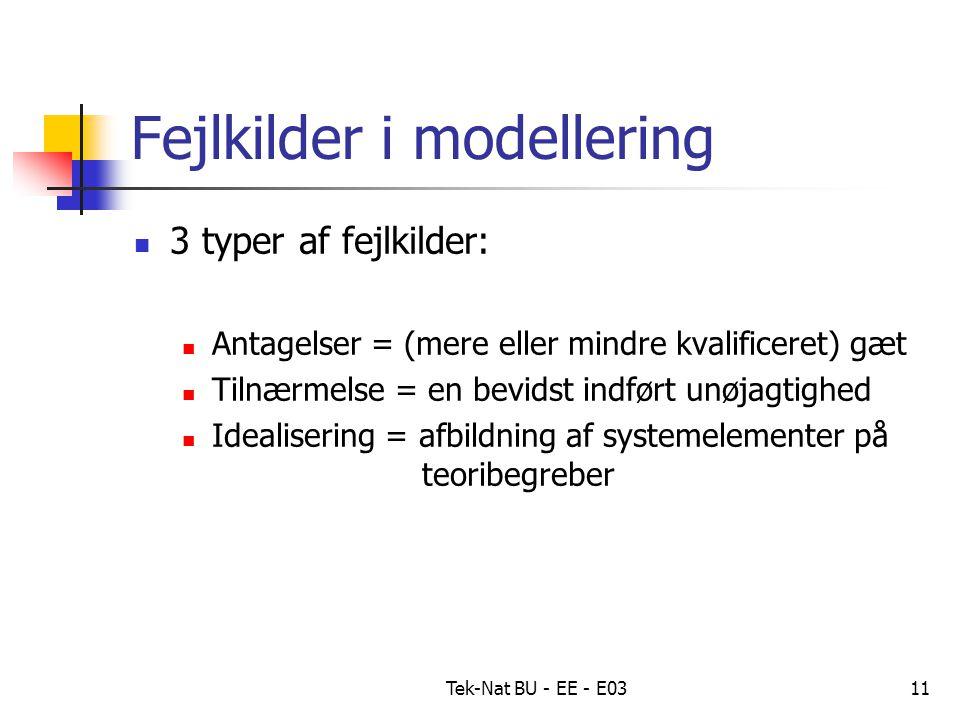 Tek-Nat BU - EE - E0311 Fejlkilder i modellering 3 typer af fejlkilder: Antagelser = (mere eller mindre kvalificeret) gæt Tilnærmelse = en bevidst indført unøjagtighed Idealisering = afbildning af systemelementer på teoribegreber