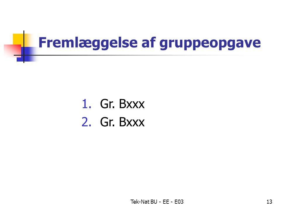 Tek-Nat BU - EE - E0313 Fremlæggelse af gruppeopgave 1.Gr. Bxxx 2.Gr. Bxxx