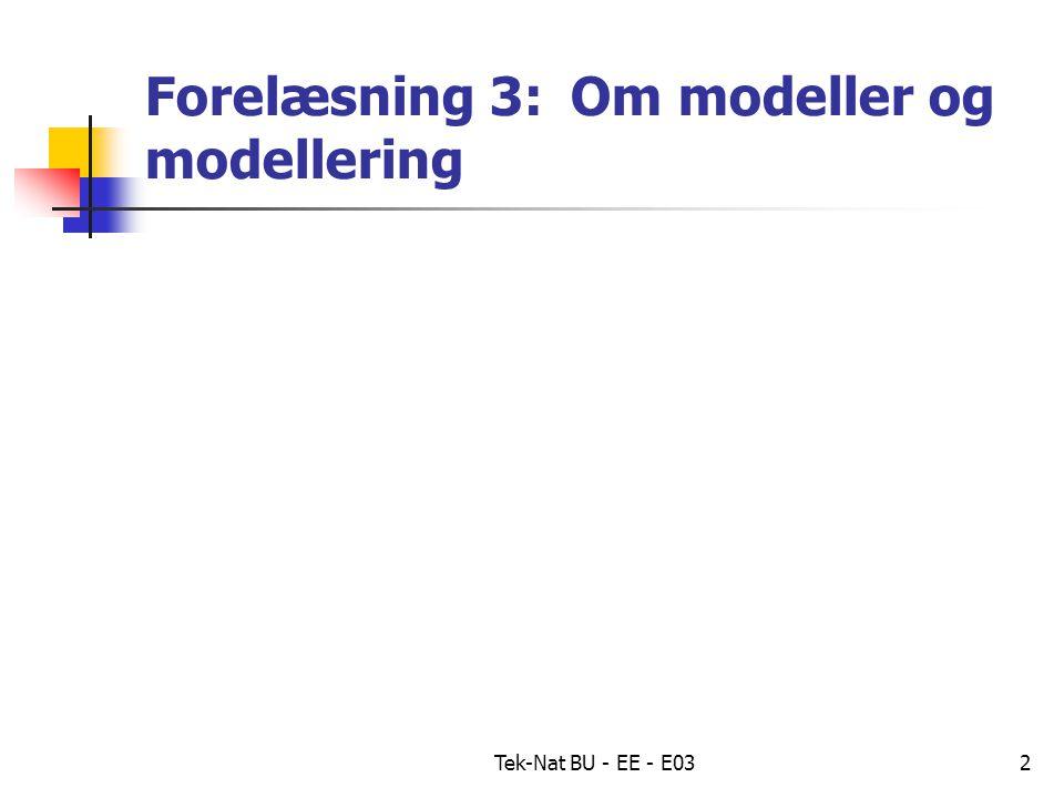 Tek-Nat BU - EE - E032 Forelæsning 3: Om modeller og modellering