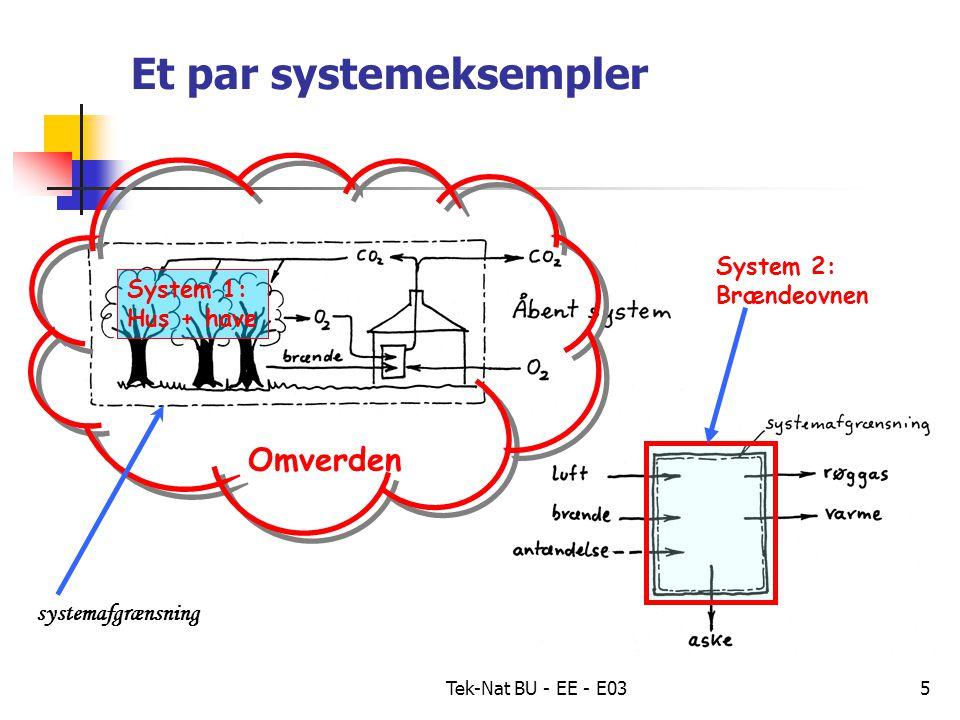 Tek-Nat BU - EE - E035 Et par systemeksempler System 1: Hus + have Omverden systemafgrænsning System 2: Brændeovnen