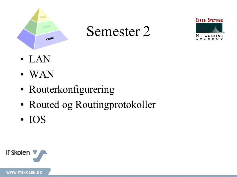 Semester 2 LAN WAN Routerkonfigurering Routed og Routingprotokoller IOS
