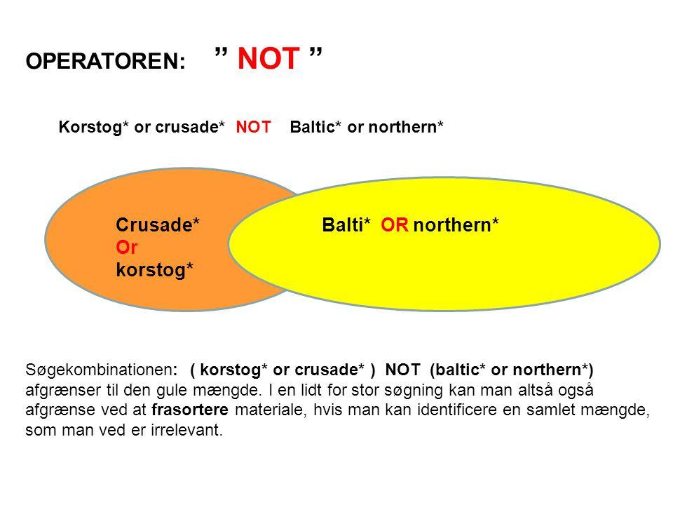 OPERATOREN: NOT Korstog* or crusade* NOT Baltic* or northern* Søgekombinationen: ( korstog* or crusade* ) NOT (baltic* or northern*) afgrænser til den gule mængde.