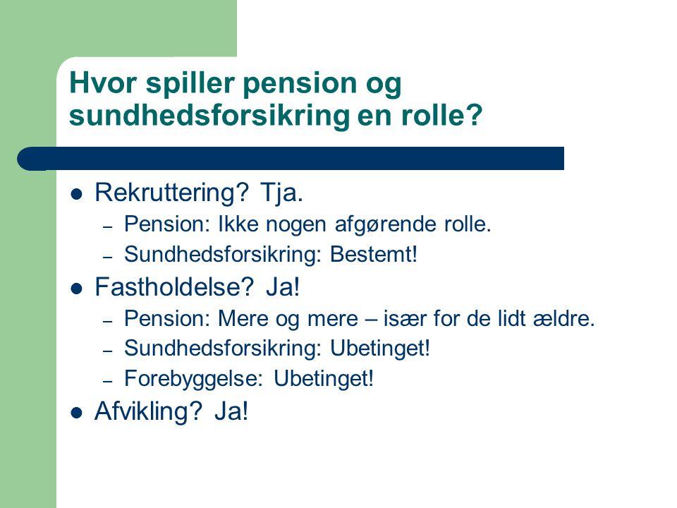 Hvor spiller pension og sundhedsforsikring en rolle.