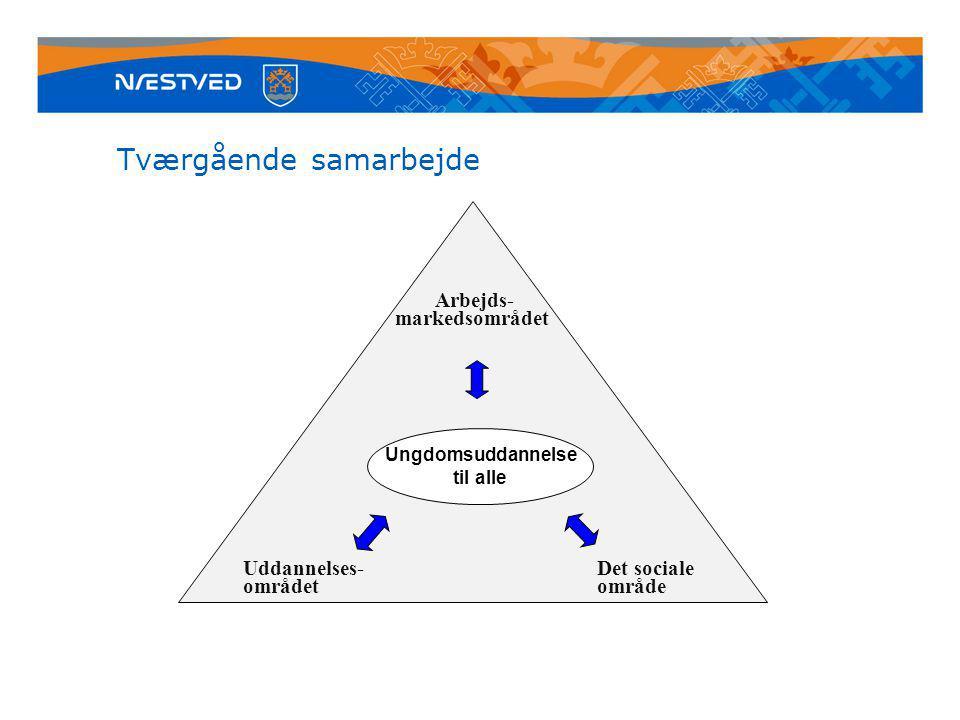 Tværgående samarbejde Arbejds- markedsområdet Uddannelses-Det sociale områdetområde Ungdomsuddannelse til alle