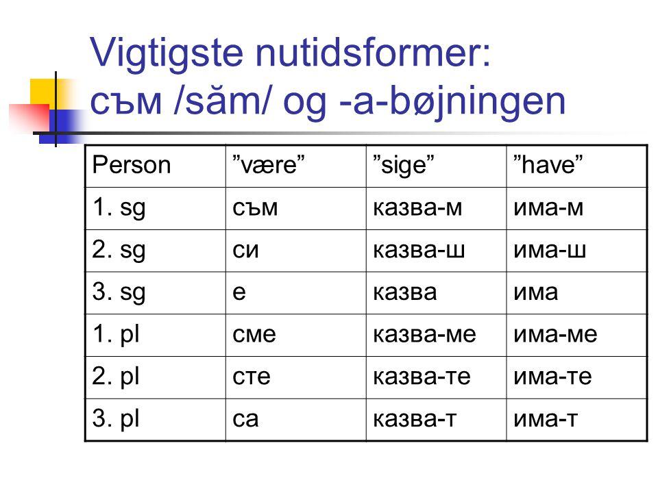 Vigtigste nutidsformer: съм /săm/ og -а-bøjningen Person være sige have 1.