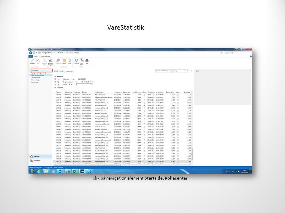 VareStatistik Klik på navigation element Startside, Rollecenter