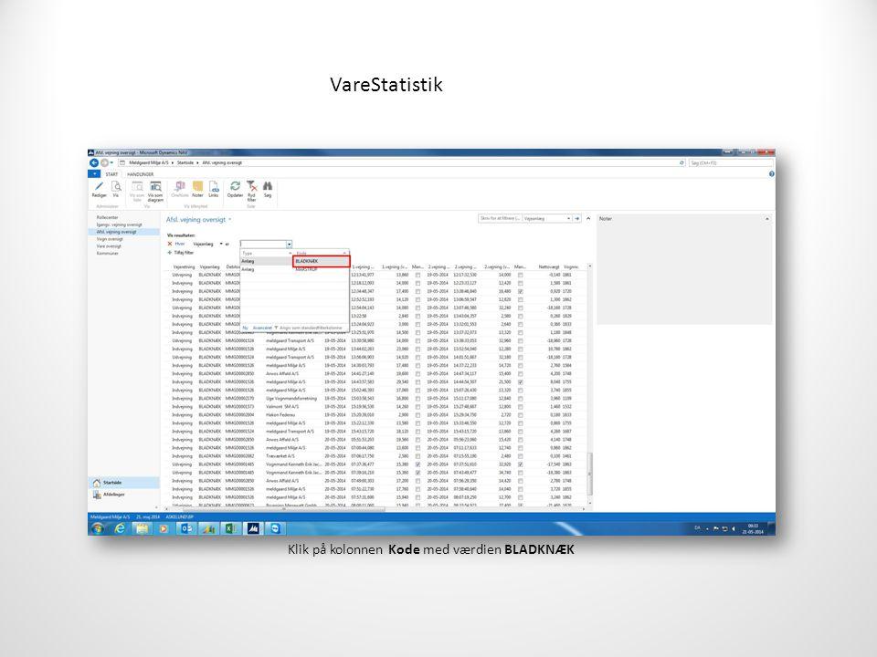 VareStatistik Klik på kolonnen Kode med værdien BLADKNÆK