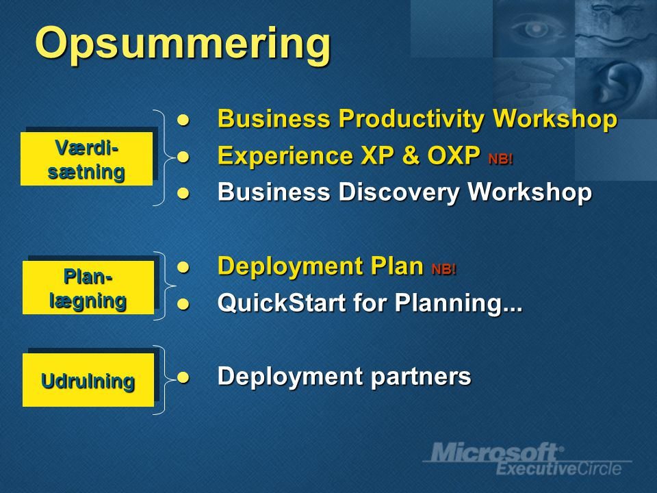 Opsummering Business Productivity Workshop Business Productivity Workshop Experience XP & OXP NB.