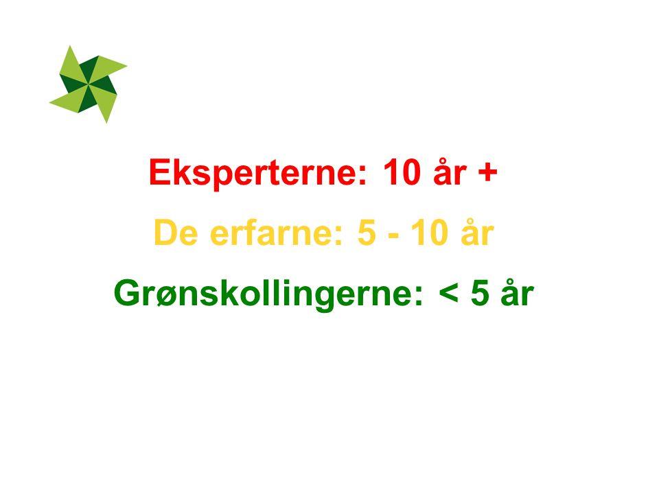 Eksperterne: 10 år + De erfarne: 5 - 10 år Grønskollingerne: < 5 år