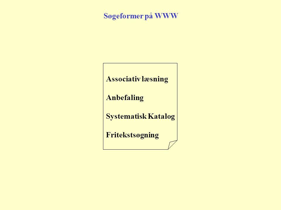 Søgeformer på WWW Associativ læsning Anbefaling Systematisk Katalog Fritekstsøgning