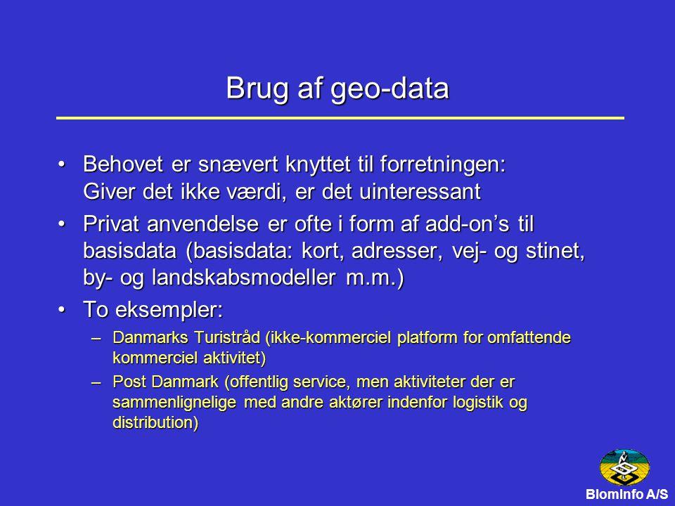Brug af geo-data Behovet er snævert knyttet til forretningen: Giver det ikke værdi, er det uinteressantBehovet er snævert knyttet til forretningen: Giver det ikke værdi, er det uinteressant Privat anvendelse er ofte i form af add-on's til basisdata (basisdata: kort, adresser, vej- og stinet, by- og landskabsmodeller m.m.)Privat anvendelse er ofte i form af add-on's til basisdata (basisdata: kort, adresser, vej- og stinet, by- og landskabsmodeller m.m.) To eksempler:To eksempler: –Danmarks Turistråd (ikke-kommerciel platform for omfattende kommerciel aktivitet) –Post Danmark (offentlig service, men aktiviteter der er sammenlignelige med andre aktører indenfor logistik og distribution)