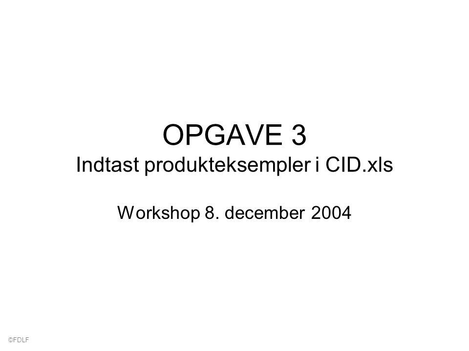©FDLF OPGAVE 3 Indtast produkteksempler i CID.xls Workshop 8. december 2004