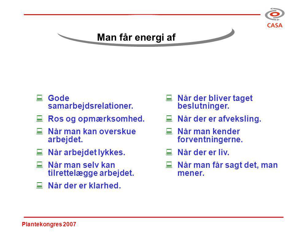 Plantekongres 2007 Man får energi af :Gode samarbejdsrelationer.