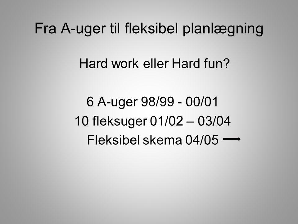 Fra A-uger til fleksibel planlægning Hard work eller Hard fun.