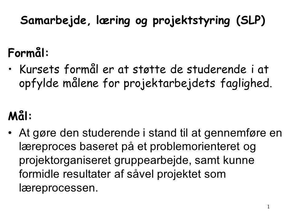 1 Samarbejde, læring og projektstyring (SLP) Formål: Kursets formål er at støtte de studerende i at opfylde målene for projektarbejdets faglighed.
