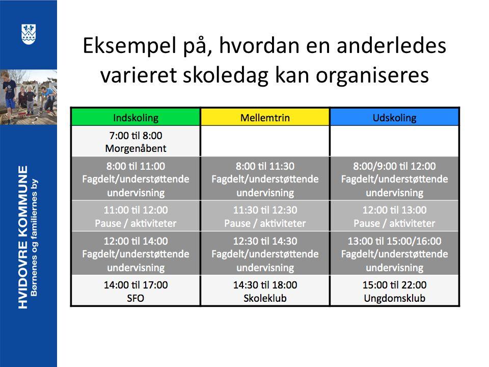 Eksempel på, hvordan en anderledes varieret skoledag kan organiseres